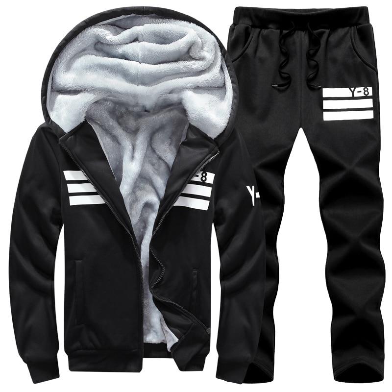 Image 2 - Brand Men Sets Autumn Winter Thick Fleece Sporting Suit 6XL  Sweatshirt   Sweatpants Mens Clothing Sets Tracksuit Large Size  8XLMens Sets