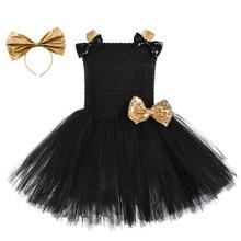 Vestido de tutú con diadema para niña, traje de juego de rol de Reina con lazo dorado y negro, para Halloween, Carnaval y fiesta