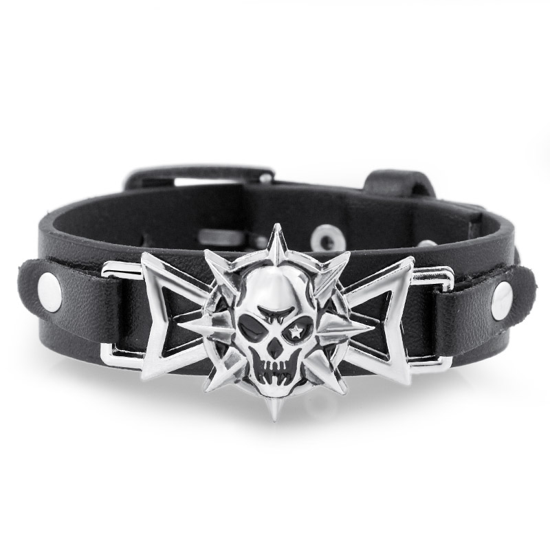 Stylish Skeleton Skull Star Eye Punk Gothic Rock Leather Belt Buckle Bracelets For Women Men Delicate Bracelet Accessories DS302