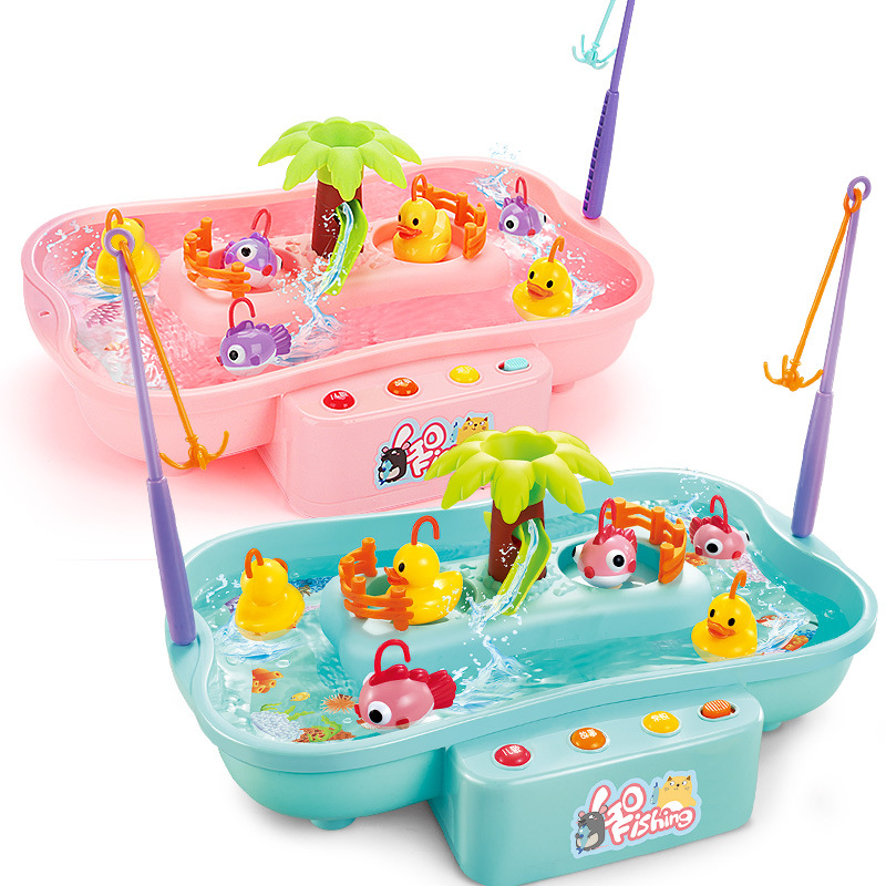Kids Fishing Toy Child Play House Educational Toys Duck Fishing Games Electric Water Cycle Music Light Outdoor Toys For Children