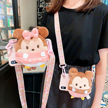 3D Plush Cartoon Coin Cute Wallet lanyard Crossbody Phone Case For iPhone XR XS Max 6 7 8 Plus X Soft Silicone Strap Cover
