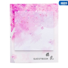 2021 1PC Fresh Aestheticism Cherry Sakura Natural Memo Pad Sticky Notes Shopping Check List +School Supply Label About 11% 2A9cm