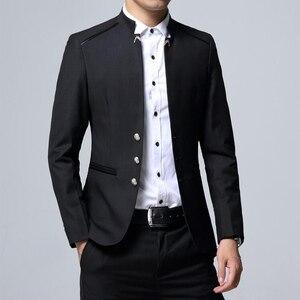 Image 5 - Herren Anzug 3 Stück Set Slim fit Männer Anzug Jacken + Hosen + Westen Hochzeit Bankett Männlichen einfarbig business Casual Blazer Mäntel