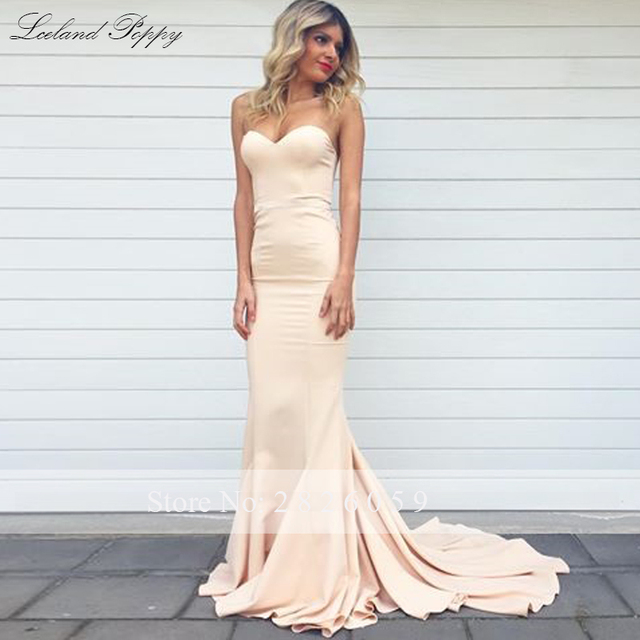 Lceland Poppy Strapless Mermaid Satin Evening Dresses Sleeveless Floor Length Formal Evening Gowns Sweep Train Robe de Soiree 2