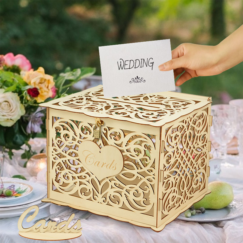 DIY Rustic Wedding Card Invitatin Boxes with Lock and Card Sign Mr&Mrs Wooden Money Gift Box Wedding Favor Decoration Supplies