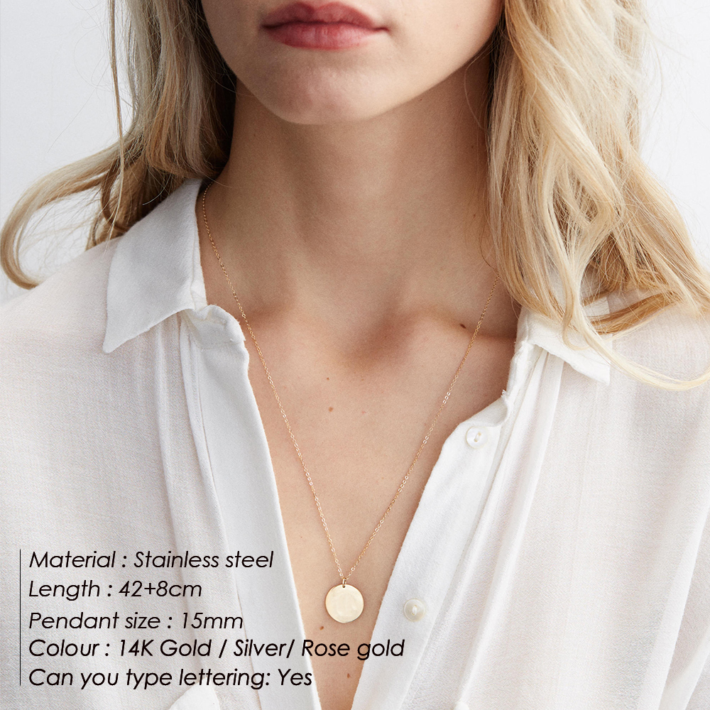 eManco Engrave Sun Pendant Necklace Female Gold Color 316L Stainless Steel Necklaces Fashion Chain Necklace For Women Jewelry