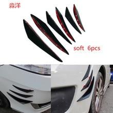 Car Body Front Bumper Lip Splitter Spoiler Kits black/ carbon fiber 1 set /6pcs side bumper spoiler