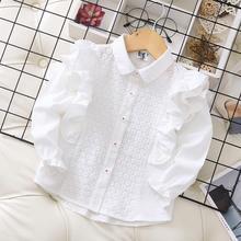 Весенняя блузка с вышивкой и оборками для маленьких девочек; модный детский топ принцессы с длинными рукавами; 6 шт./партия;