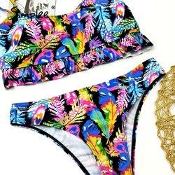 Simplee tropikalne liście drukuj kobieta strój kąpielowy oddzielne dwuczęściowy Bandeau bikini 2020 nowa z falbankami stroje kąpielowe kobiety garnitur biquinis 5