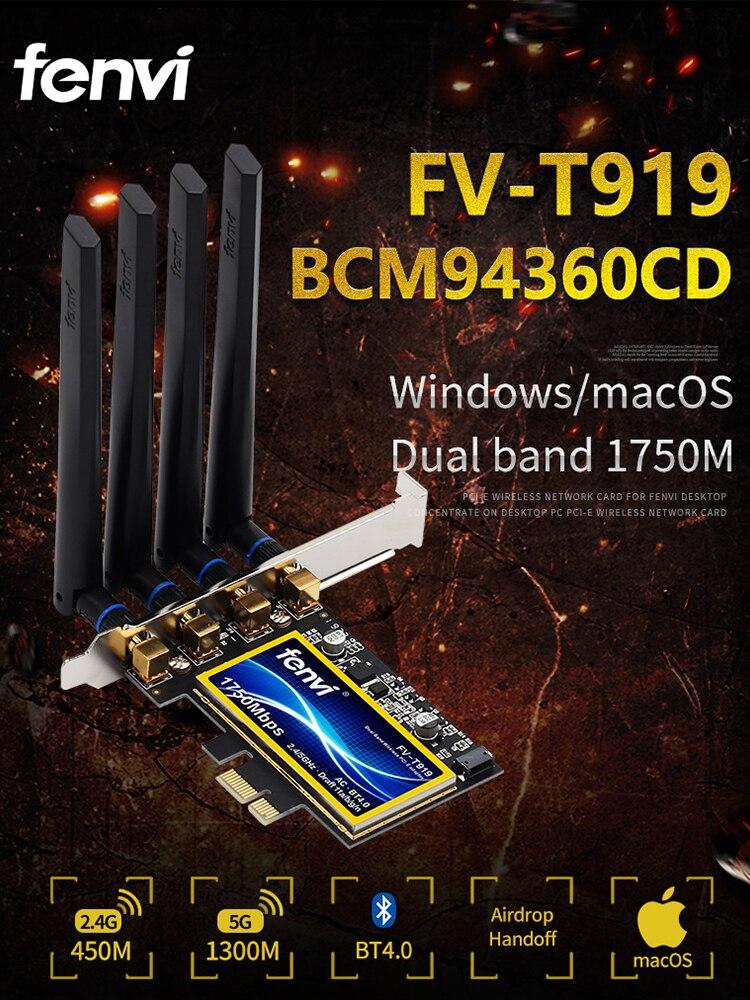 Fenvi Wifi-Card Pcie Macos Desktop Dual-Band BCM94360CD 1750mbps Bluetooth-4.0 Wireless-Adapter