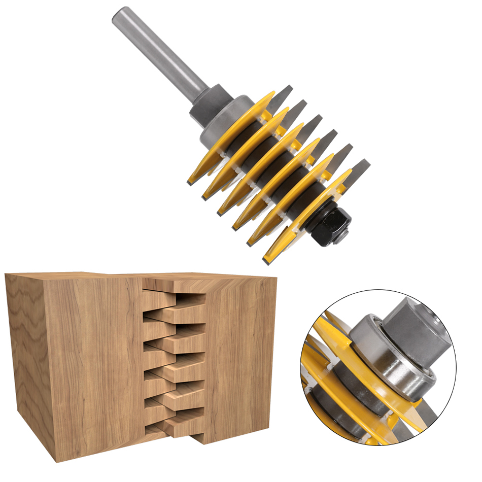 1pc 8mm Shank12mm shank Brand New 2 Teeth Adjustable Finger Joint Router Bit Tenon Cutter Industrial Grade for Wood Tool