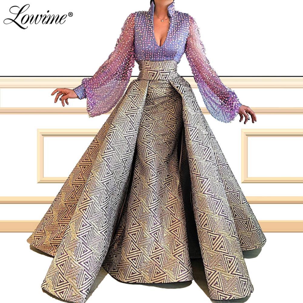 Robe De Soiree 2020 Custom Made V Neck Mermaid Evening Dress Full Sleeves Dubai Arabic Turkish Party Gown Middle East Prom Dress