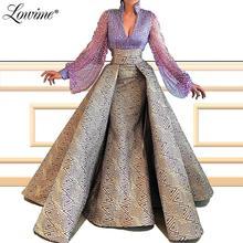 Robe De Soiree 2020 תפור לפי מידה V צוואר בת ים שמלת ערב מלא שרוולי דובאי ערבית תורכי מסיבת שמלת מזרח התיכון לנשף שמלה