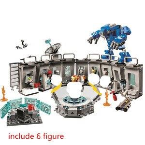 Avengers Endgame Iron Man Hall of Armores Building Blocks Kit Bricks Classic Marveles Movie Model Kids Toys For Children gift(China)
