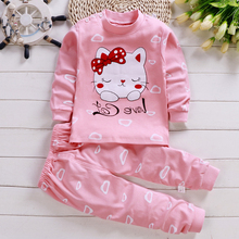 Children Cat Pajamas for Kids Winter Infant 100 Cartoon Sleepwear Pyjamas Sets Girls&Baby Cartoon Animal Pajamas Kids Pajama Set
