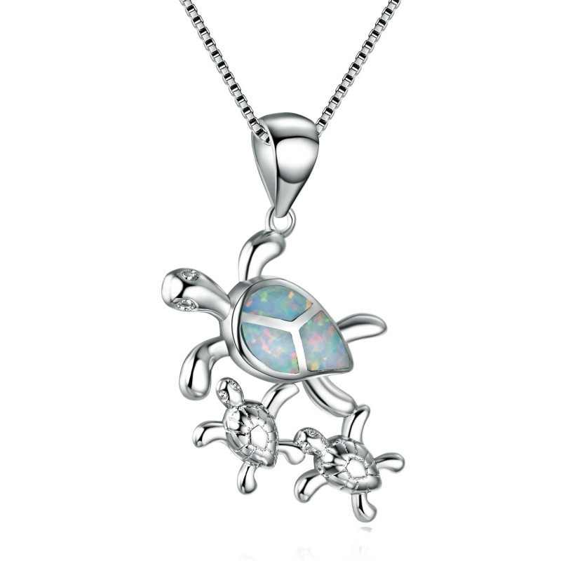 New Fashion Luxury Sterling Silver Three Turtle Opal Pendant Necklace Bridal Personality Charm Wedding Jewelry for women gift