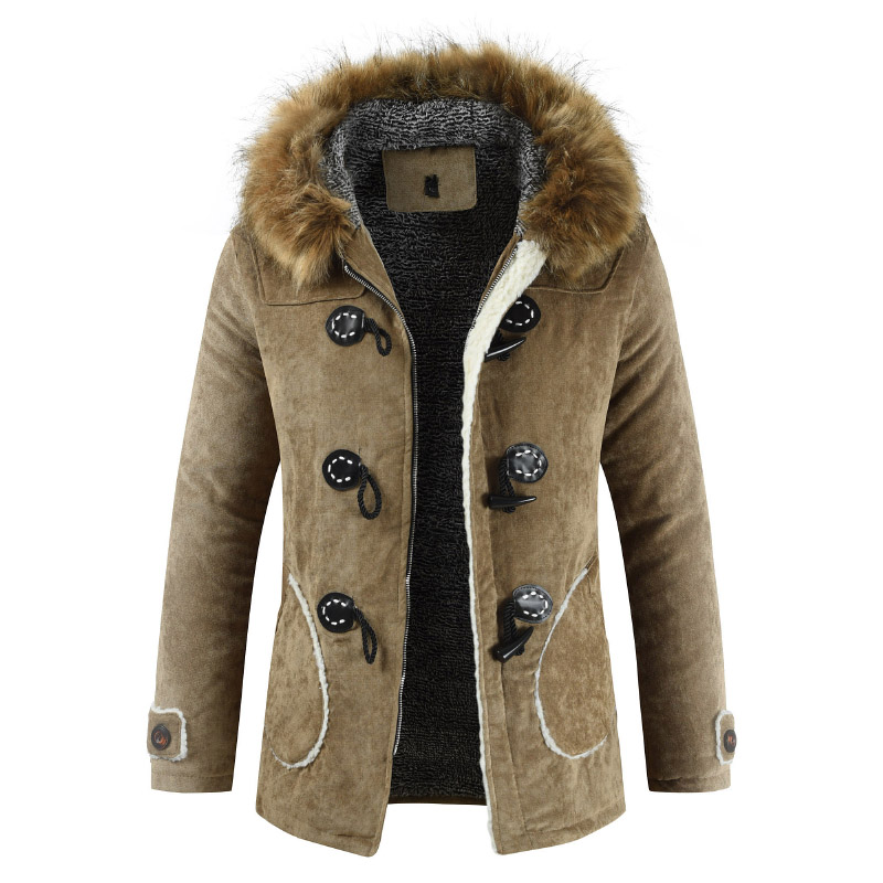 Winter Jacket Coat Men Fashion Hooded Fur Collar Man   Parka   Padded Warm Jacket Flocking Winterbreak Men Outerwear