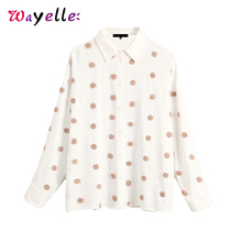 Women Tops Sweet Embroidered Polka Dot Womens Blouses Loose Korean Long Sleeve Shirts Fashion Cute and