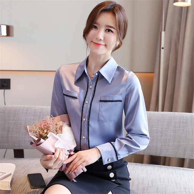 Korean Women Shirts Woman Shirt and Blouse Office Lady Beading Blouses Shirts Women Long Sleeve Satin Shirt Tops Plus Size XXL 5