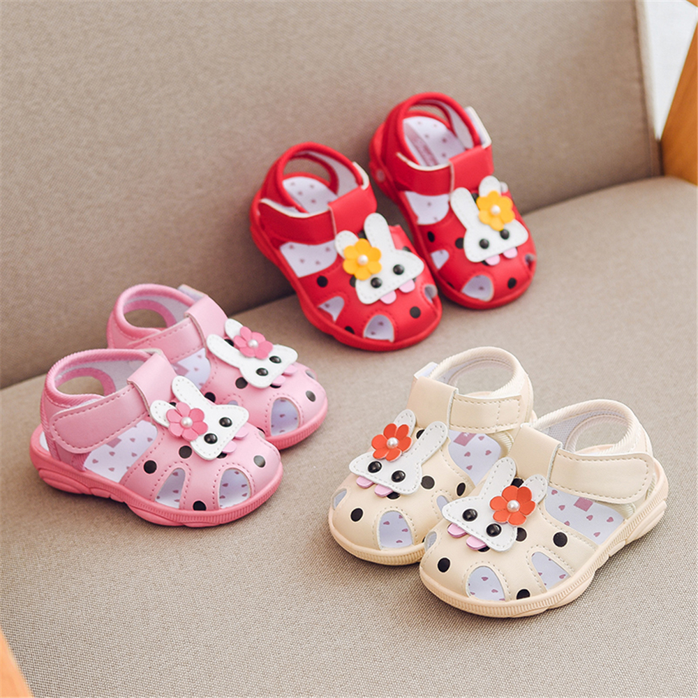 Baby Boys Girls Rabbit Animals Cartoon Non-Slip Sandals Kids Toddlers Flat Shoes Newborn Summer Prewalker