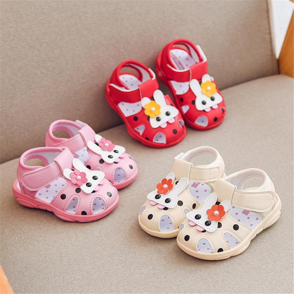 Baby Boys Girls Rabbit Animals Cartoon Non-Slip Sandals Kids Toddlers Flat Shoes Newborn Summer Prewalker