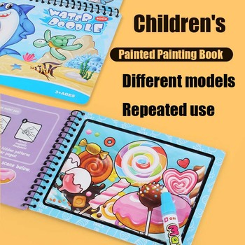3 Pcs Children Magic Water Drawing Book Coloring Book Doodle With Magic Pen Painting Drawing Board Enlightenment Painting Books 1set montessori coloring book doodle