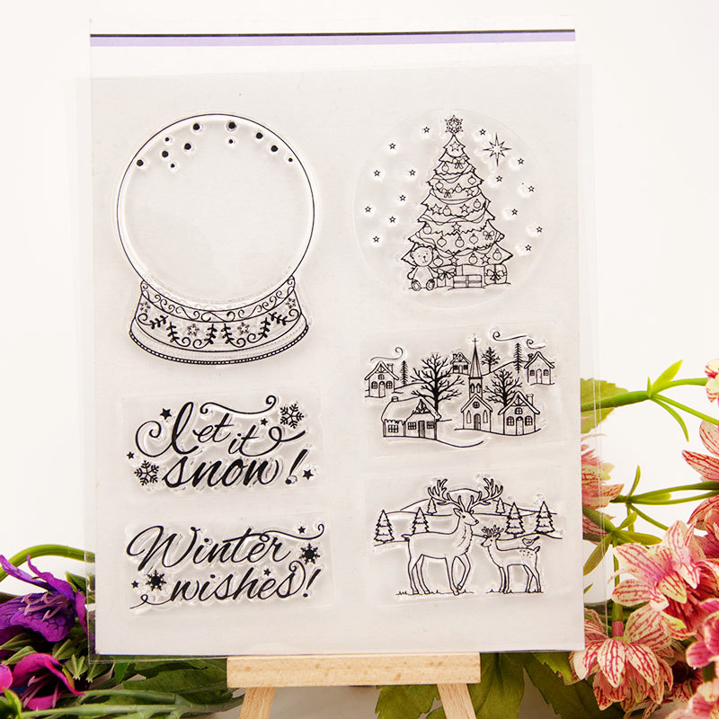 CLEAR STAMPS For DIY Scrapbooking Crystal Ball Christmas Transparent Stamps Card Making Album Paper Craft Decoration New Stamps