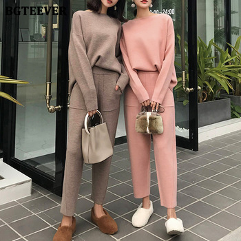 BGTEEVER 2020 Winter Casual Sweater Tracksuits O-neck Long Sleeve Jumpers & Elastic Waist Pants Female Knitted 2 Pieces Set 1