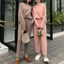 BGTEEVER – ensemble 2 pièces tricoté pour femme, pull-over décontracté, survêtement, col rond, manches longues, pantalon à taille élastique, hiver, 2020