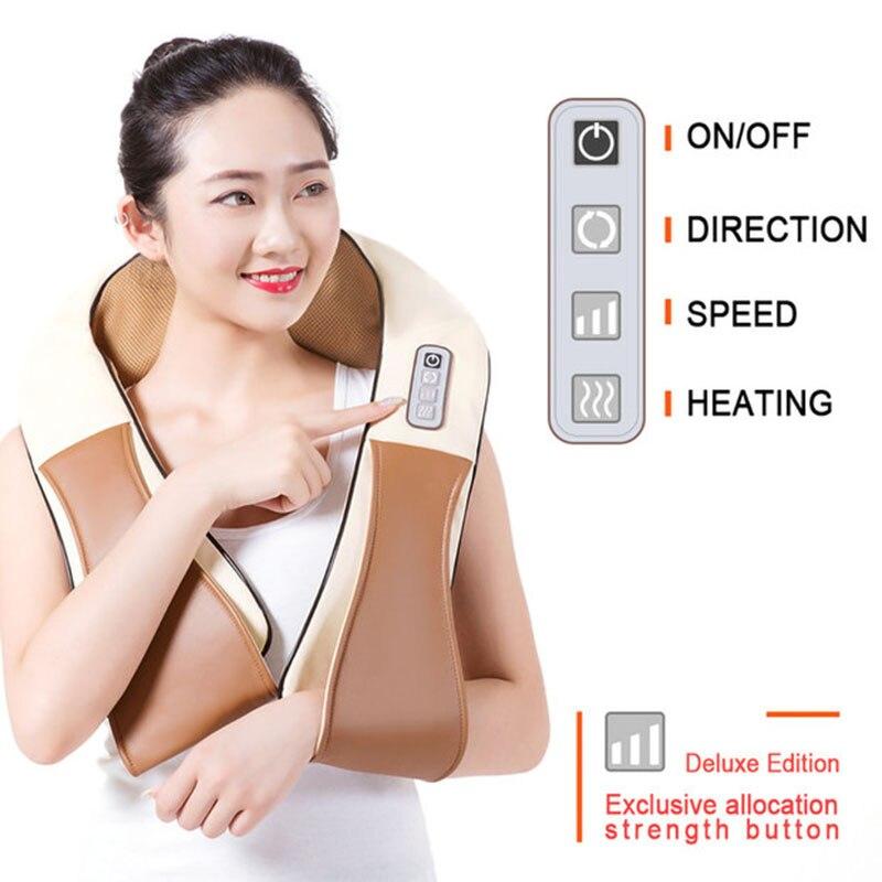 (real Heated)Home Car U Shape Electrical Shiatsu Back Neck Shoulder Body Massager Infrared Heated Kneading Car/Home Massagem