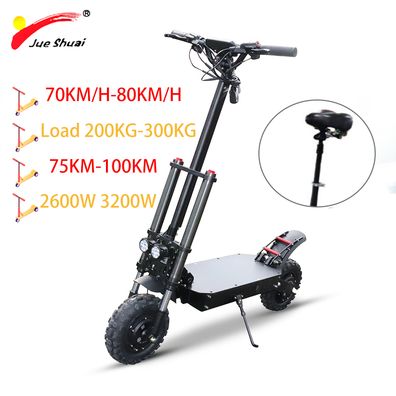 80KM/H 11'' <font><b>60V</b></font> 3200W Electric Scooter Motor Wheel <font><b>Samsung</b></font> Lithium Battery Skateboard Scooter Electric Patinete Eletrico Adulto image