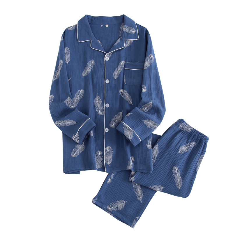 Autumn Pajamas Men Long Sleeve Turn-down Collar Print Pyjama Homme Cotton Pijama Casal Sleepwear Men Nightwear Dropshipping