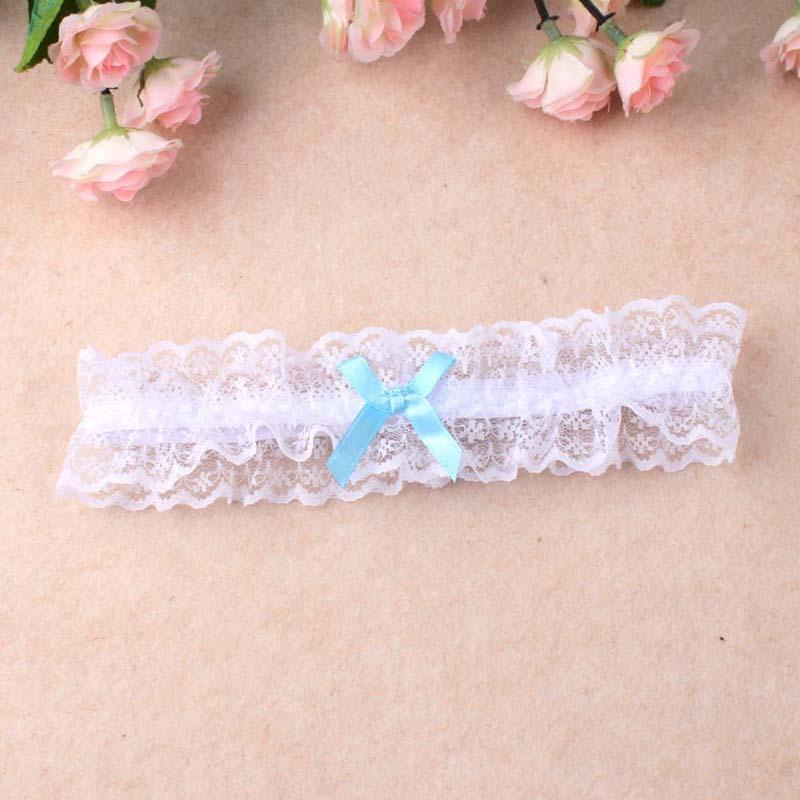 Wholesale Women Girl Princess Cosplay Wedding Party Bridal Lace Floral Blue Leg Ring Loop Stocking Garter Belt