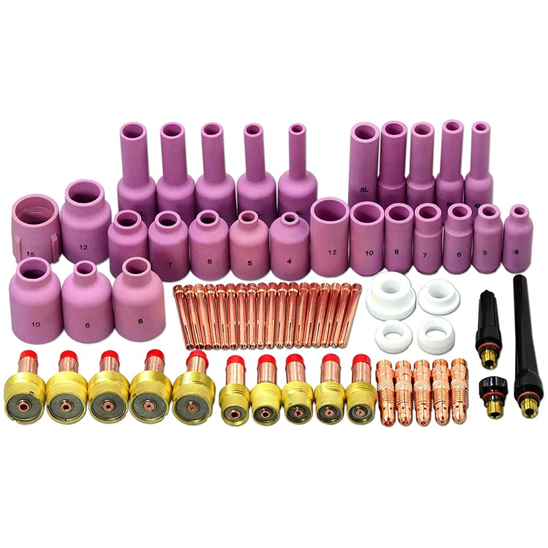 67 Pieces Tig Gas Lens Back Cover Collet Combination Size Kit Aluminum Nozzle Suitable For Tig Welding Flashlight Sr Wp17 18 26