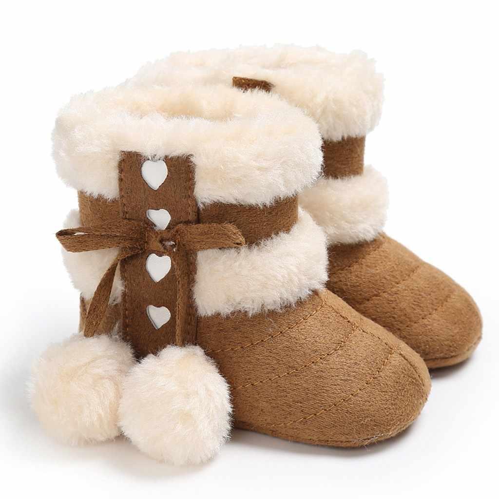 Mignon pompon bébé chaussures bébé filles chaussures 2019 bébé garçon enfant en bas âge chaussures nouveau-né hiver chaud premiers marcheurs
