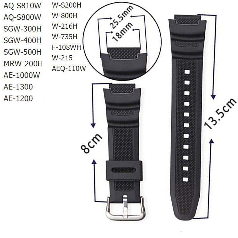 Rubber Strap For Casio AE-1000w AQ-S810W SGW-400H / SGW-300H Silicone Watchband Pin Buckle Strap Watch Black Wrist Bracelet