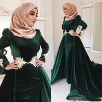 Eightae Muslim Evening Dress Green caftan Gold Appliques Long Sleeves Mermaid Velvet Arabic Kaftan Dubai Prom Party Gown