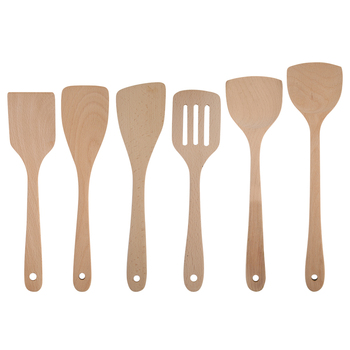 1pc Spatula Spoon Mixing Holder Cooking Utensils Dinner Kitchen Shovels Nonstick CookwareHealth Wood Wok Shovels Slotted