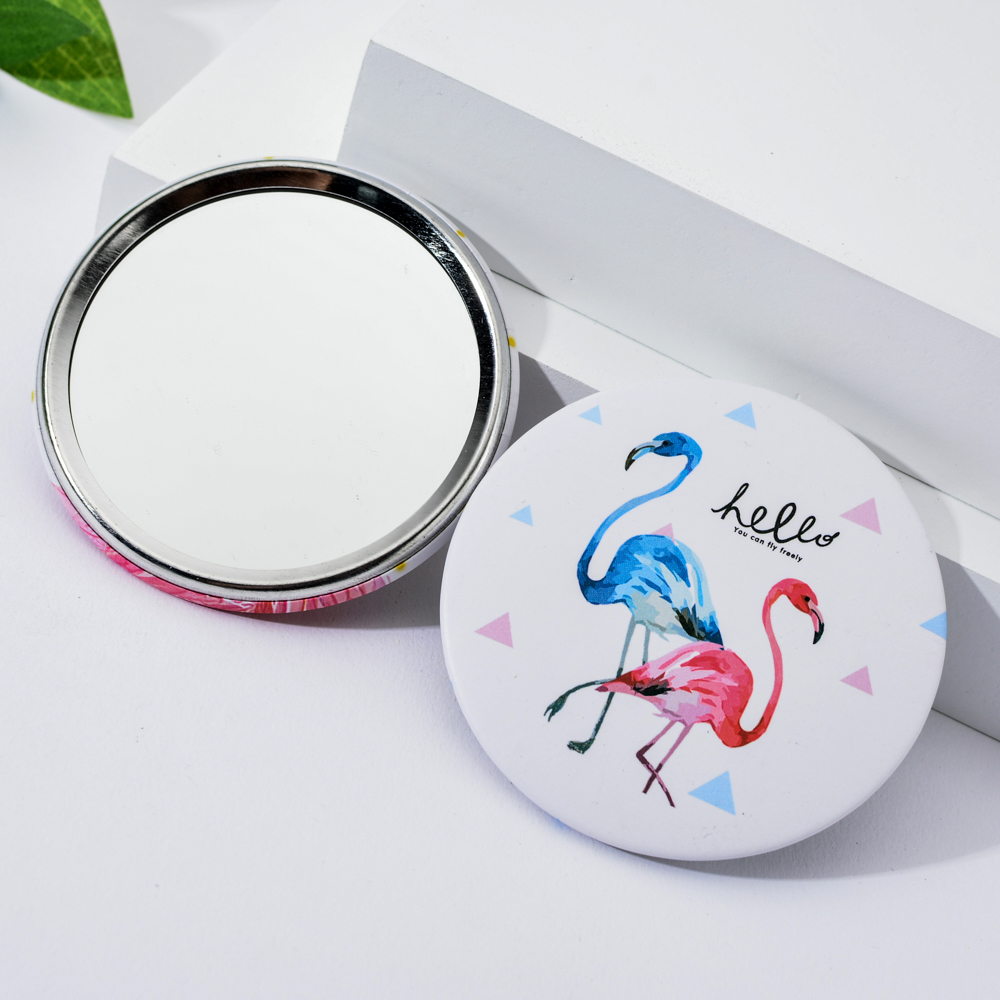 Pink Flamingo Element Cosmetic Mirror Single Side Creative Women Round Mini Pocket Mirrors Cartoon Patterns Compact Makeup Tool