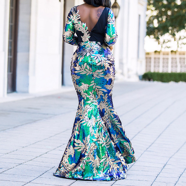Vintage Green Long Sleeve Mermaid Sequins Dress Sparkly Elegant Plus Size Shiny Party Evening African Long Dresses for Women 5