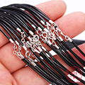 2 stücke 925 Sterling Silber Farbe 40 45 50 55cm Leder Geflochtenen Seil DIY Handgemachte Herstellung Für Halsketten & anhänger Zubehör