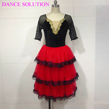 تنورة منفوشة رومانسية بثلاث طبقات مع دانتيل للبنات والنساء ملابس راقصة باليه فستان إسباني طويل الأكمام منتصبة 19505