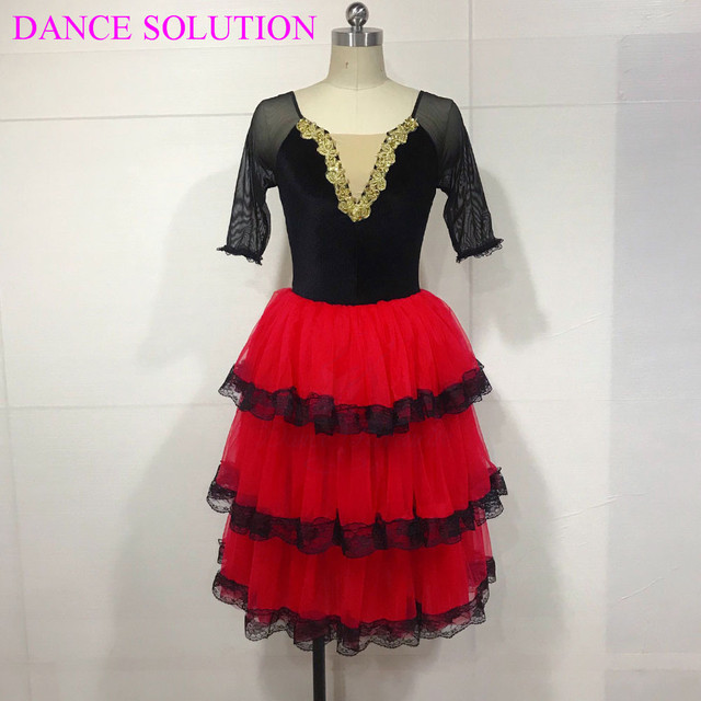 3 Tiered Romantic Tutu Skirt with Lace for Girls & Women Ballerina Dance Costume Spanish Dress Mid Sleeve Long Ballet Tutu 19505