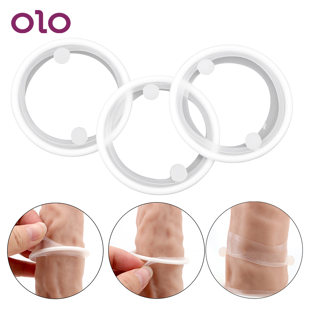 OLO 3 Pcs/set Cock Ring Foreskin Silicone Penis Ring Delay Ejaculation Sex Toys For Men Male Lock Ring Sex Products