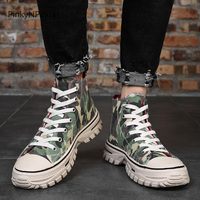 men high top canvas sneakers flat casual vulcanized shoes military army camouflage green outdoor street young style for jeans