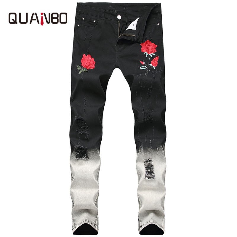 QUANBO  Men's  Embroidery Rose Distressed Jeans Autumn Winter Fashion Hold Ripped  Black  Streetwear Men Jeans Plus Size 38 40