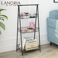 LANGRIA 3 Tier Metal Storage Basket Stand Foldable Wire Shelving Unit 3 Baskets and 4 Adjustable Leveling Feet For Home Bathroom