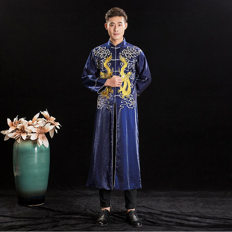 2019 Long Tang Costume Oriental Traditional Dragon Gown Robe Asian Groom New Design Robe Chinese Antique Men's Wedding Clothing
