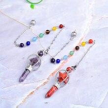 Merkaba – pendule en cristal naturel, Quartz Rose Lazuli, baguette en cristal, chaîne colorée Wicca pour hommes et femmes, bijoux cadeau
