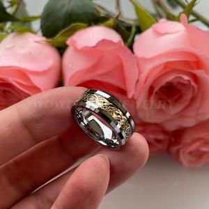 Image 3 - Anel de carboneto de tungstênio incrustado de fibra de carbono preto das mulheres dos homens bordas chanfradas polido ouro dragão aniversário casamento anéis